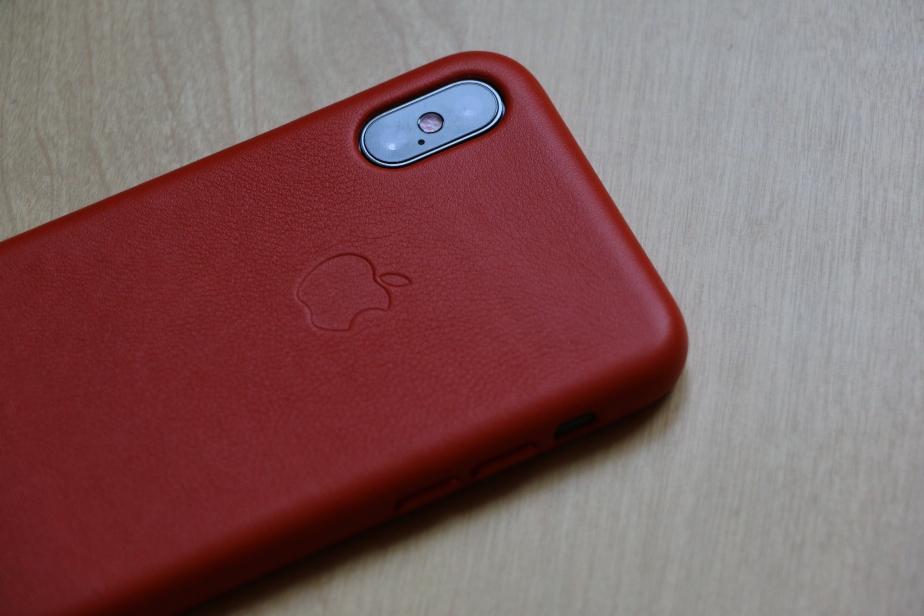 Apple Bright Orange leather case for iPhoneX